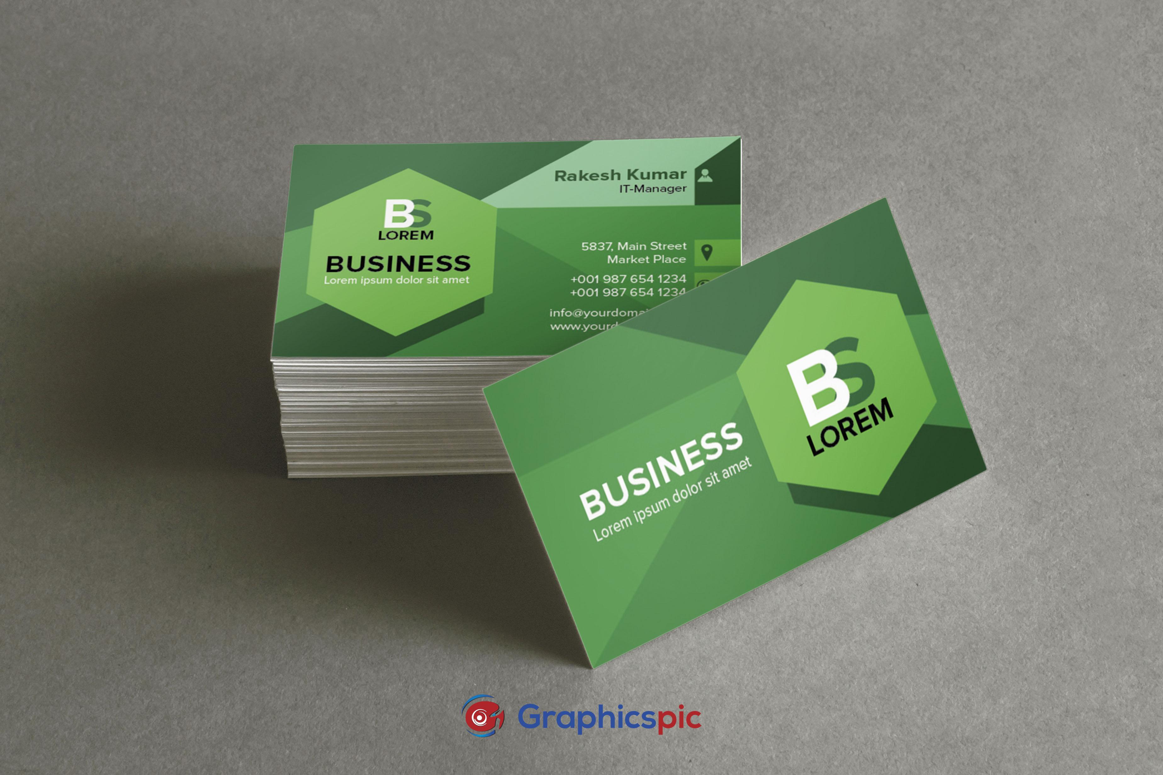 green background business card creative modern